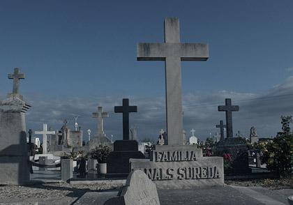 Vy över gravplats med mångar gravar som har höga kors